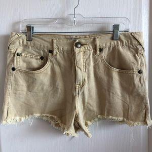 Free People - Yellow Denim Shorts